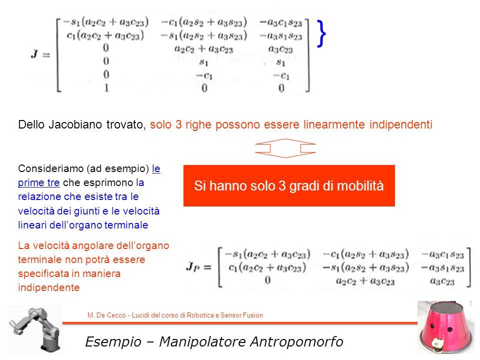 M. De Cecco - Lucidi del corso di Robotica e Sensor Fusion Dello Jacobiano trovato, solo 3 righe possono essere linearmente indipendenti Si hanno solo