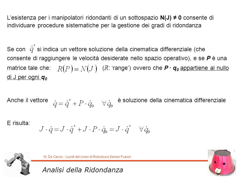 M. De Cecco - Lucidi del corso di Robotica e Sensor Fusion Lesistenza per i manipolatori ridondanti di un sottospazio N(J) 0 consente di individuare p