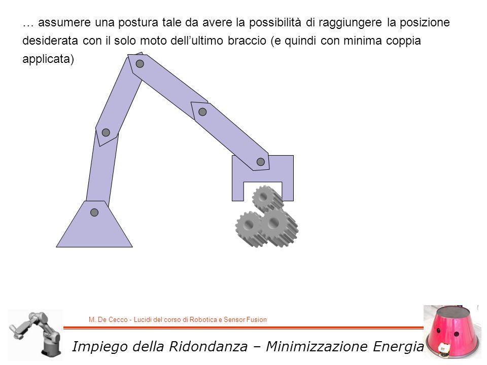 M. De Cecco - Lucidi del corso di Robotica e Sensor Fusion Impiego della Ridondanza – Minimizzazione Energia … assumere una postura tale da avere la p