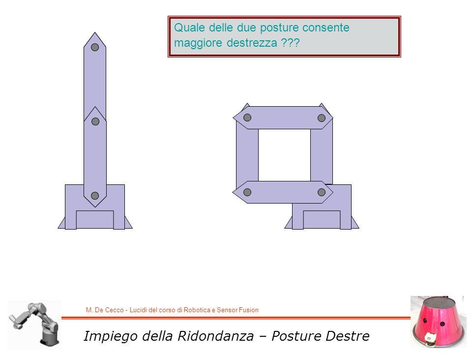 M. De Cecco - Lucidi del corso di Robotica e Sensor Fusion Impiego della Ridondanza – Posture Destre Quale delle due posture consente maggiore destrez