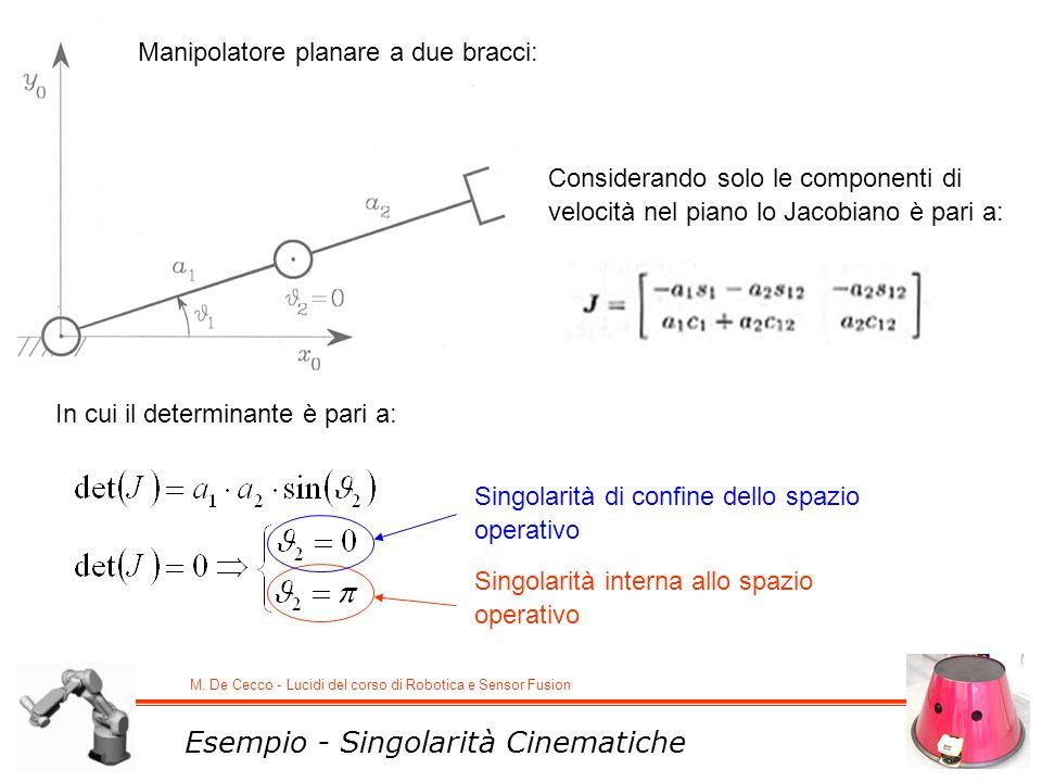 M. De Cecco - Lucidi del corso di Robotica e Sensor Fusion Esempio - Singolarità Cinematiche Manipolatore planare a due bracci: Considerando solo le c