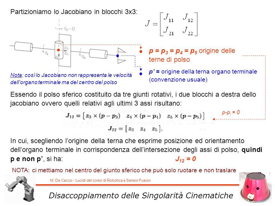 M. De Cecco - Lucidi del corso di Robotica e Sensor Fusion Partizioniamo lo Jacobiano in blocchi 3x3: Essendo il polso sferico costituito da tre giunt
