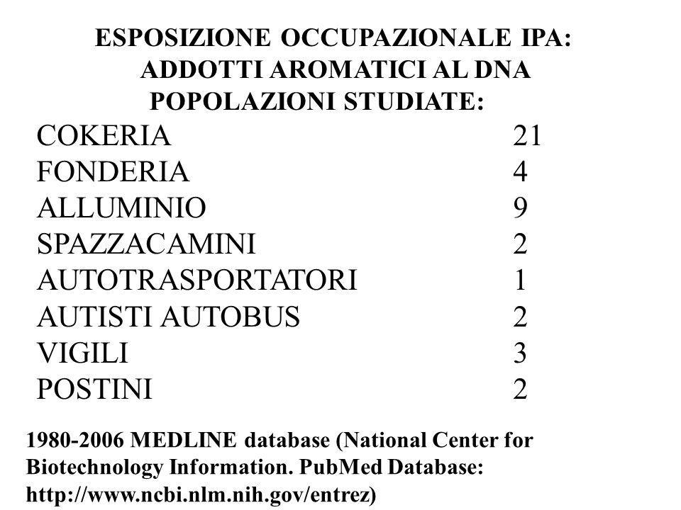 ESPOSIZIONE OCCUPAZIONALE IPA: ADDOTTI AROMATICI AL DNA POPOLAZIONI STUDIATE: COKERIA 21 FONDERIA 4 ALLUMINIO 9 SPAZZACAMINI2 AUTOTRASPORTATORI1 AUTISTI AUTOBUS 2 VIGILI3 POSTINI 2 1980-2006 MEDLINE database (National Center for Biotechnology Information.