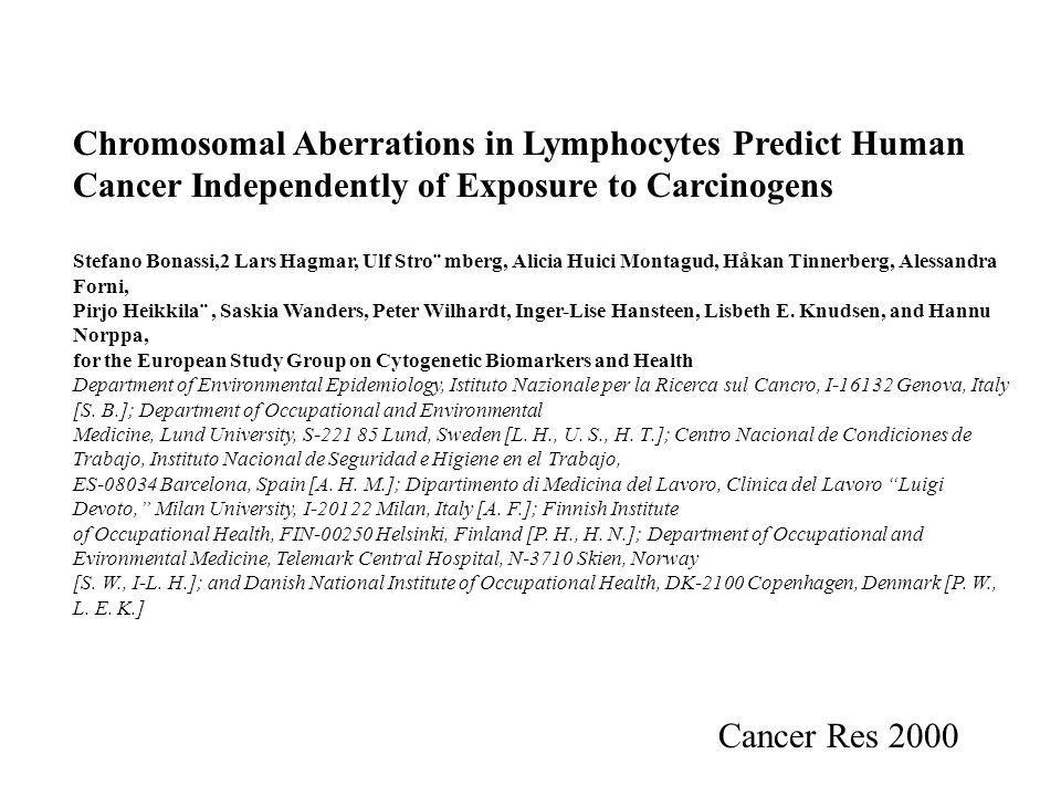 Chromosomal Aberrations in Lymphocytes Predict Human Cancer Independently of Exposure to Carcinogens Stefano Bonassi,2 Lars Hagmar, Ulf Stro¨ mberg, Alicia Huici Montagud, Håkan Tinnerberg, Alessandra Forni, Pirjo Heikkila¨, Saskia Wanders, Peter Wilhardt, Inger-Lise Hansteen, Lisbeth E.