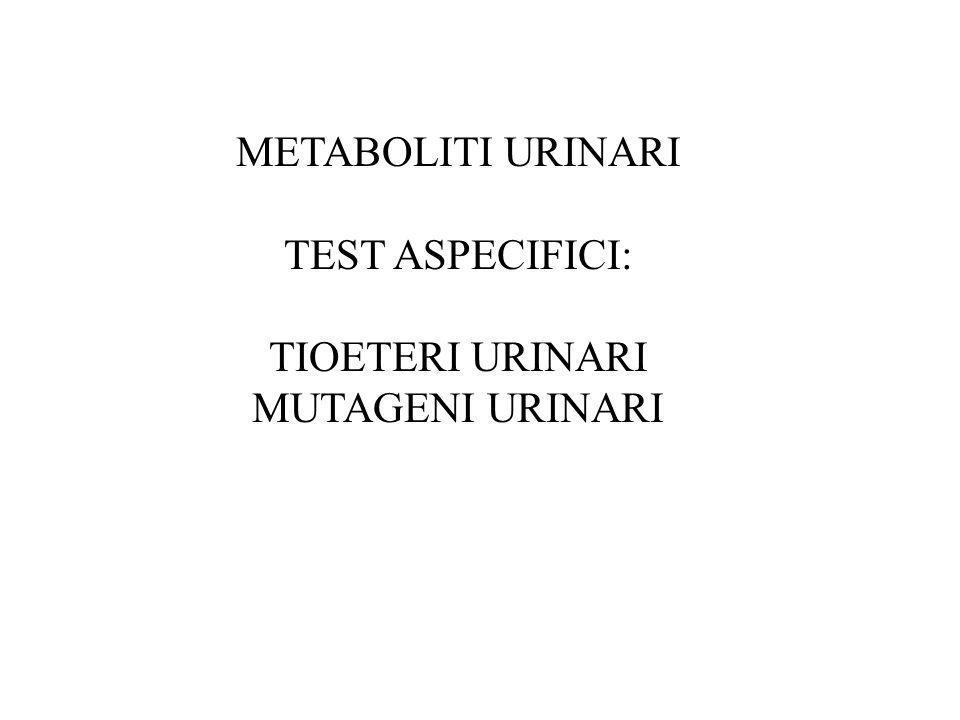 METABOLITI URINARI TEST ASPECIFICI: TIOETERI URINARI MUTAGENI URINARI