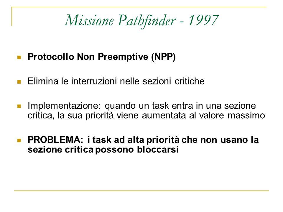 Missione Pathfinder - 1997 Protocollo Non Preemptive (NPP) Elimina le interruzioni nelle sezioni critiche Implementazione: quando un task entra in una sezione critica, la sua priorità viene aumentata al valore massimo PROBLEMA: i task ad alta priorità che non usano la sezione critica possono bloccarsi