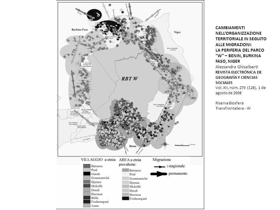 CAMBIAMENTI NELLORGANIZZAZIONE TERRITORIALE IN SEGUITO ALLE MIGRAZIONI: LA PERIFERIA DEL PARCO W – BENIN, BURKINA FASO, NIGER Alessandra Ghisalberti R