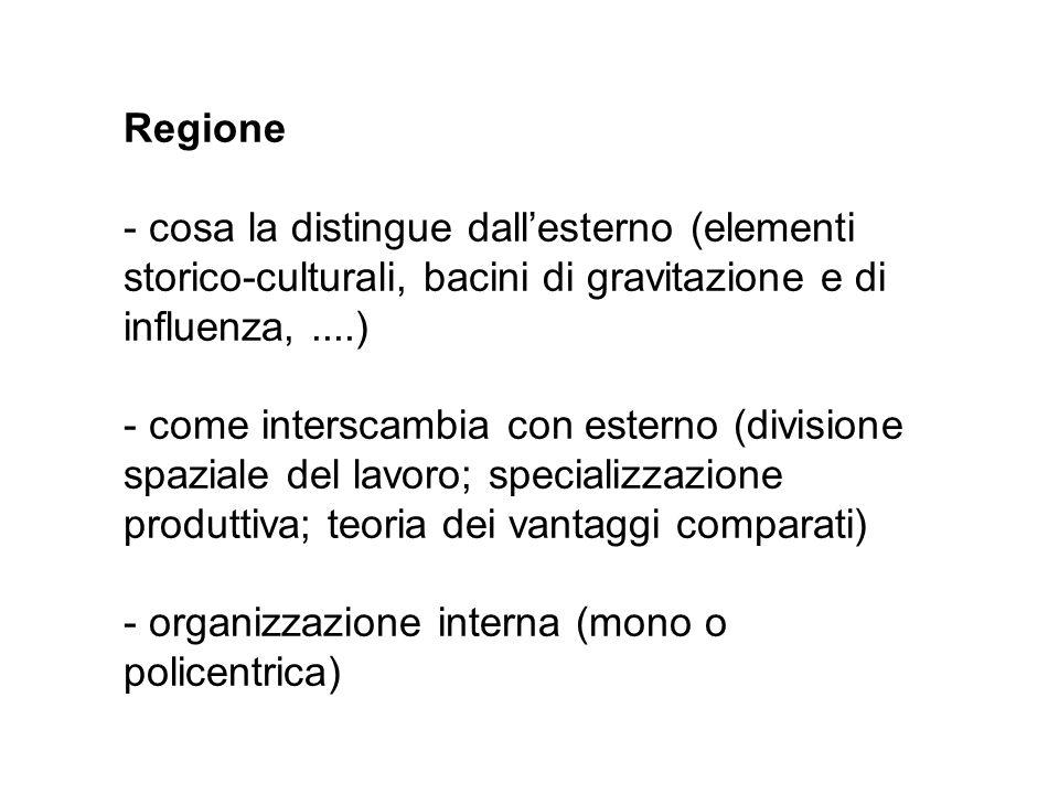 Regione - cosa la distingue dallesterno (elementi storico-culturali, bacini di gravitazione e di influenza,....) - come interscambia con esterno (divi