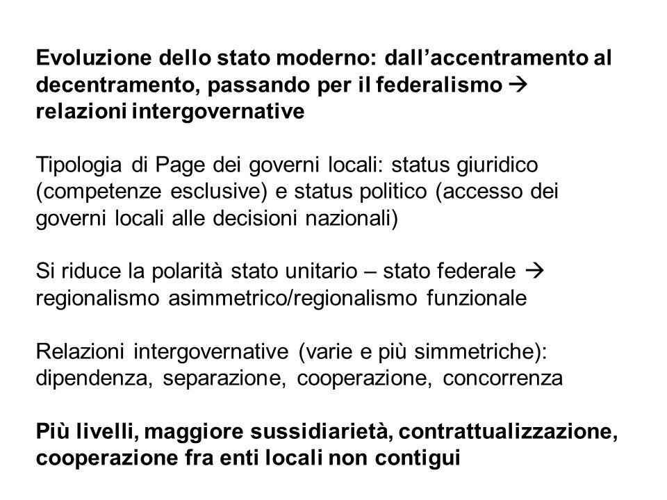 Evoluzione dello stato moderno: dallaccentramento al decentramento, passando per il federalismo relazioni intergovernative Tipologia di Page dei gover