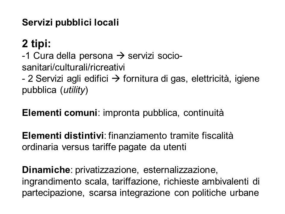 Servizi pubblici locali 2 tipi: -1 Cura della persona servizi socio- sanitari/culturali/ricreativi - 2 Servizi agli edifici fornitura di gas, elettric
