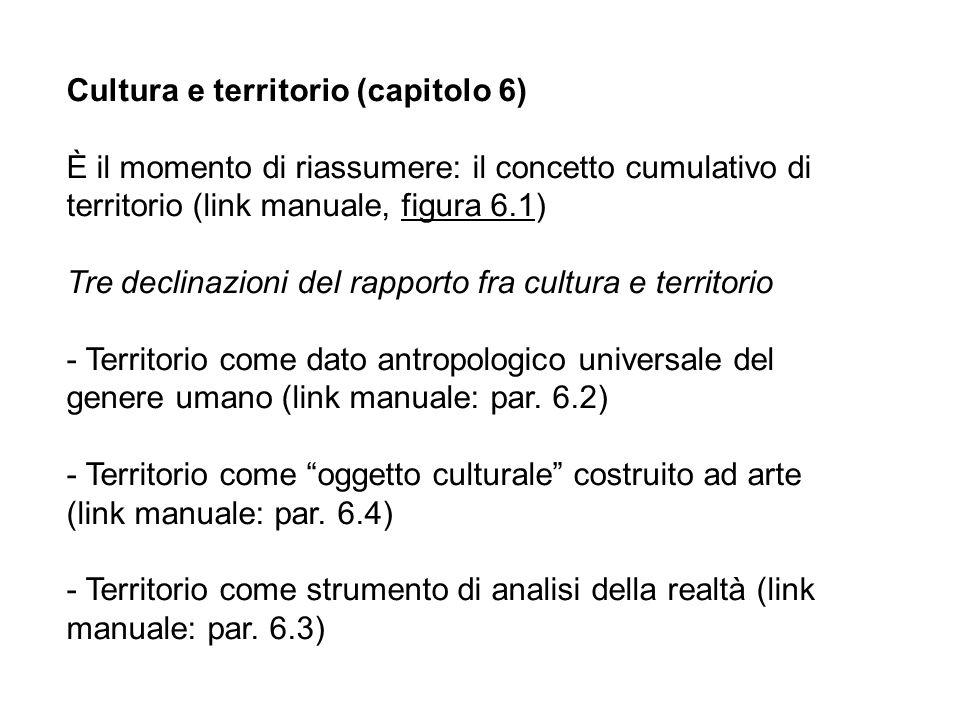 Cultura e territorio (capitolo 6) È il momento di riassumere: il concetto cumulativo di territorio (link manuale, figura 6.1) Tre declinazioni del rap