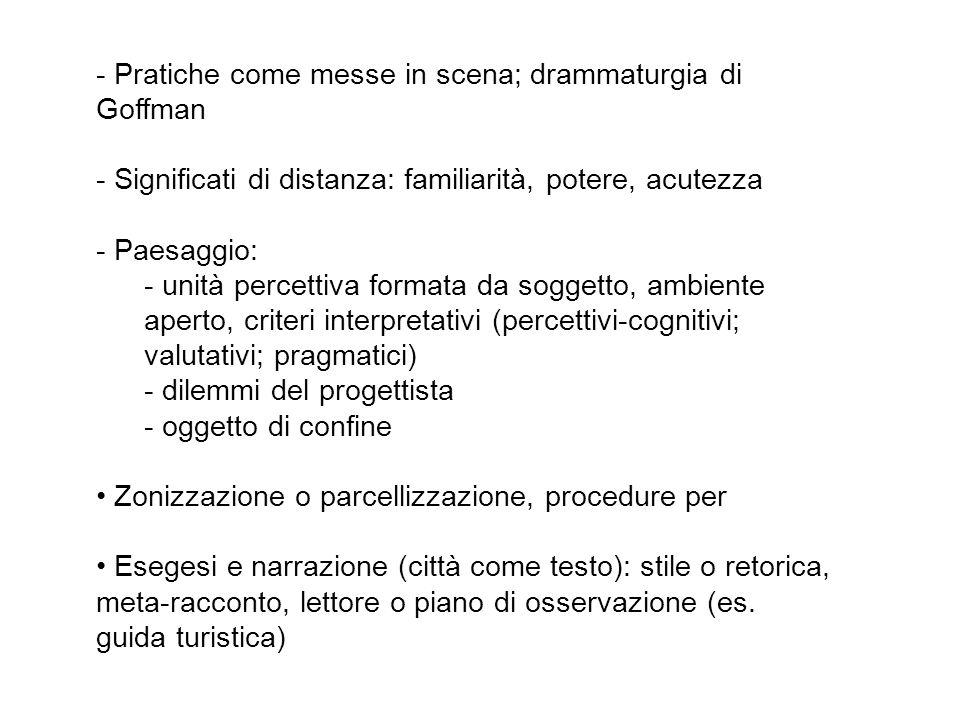 - Pratiche come messe in scena; drammaturgia di Goffman - Significati di distanza: familiarità, potere, acutezza - Paesaggio: - unità percettiva forma