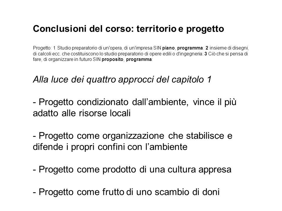Conclusioni del corso: territorio e progetto Progetto: 1 Studio preparatorio di un'opera, di un'impresa SIN piano, programma: 2 insieme di disegni, di