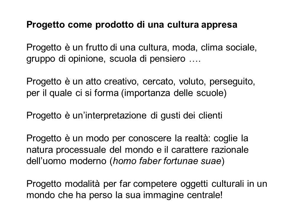 Progetto come prodotto di una cultura appresa Progetto è un frutto di una cultura, moda, clima sociale, gruppo di opinione, scuola di pensiero …. Prog