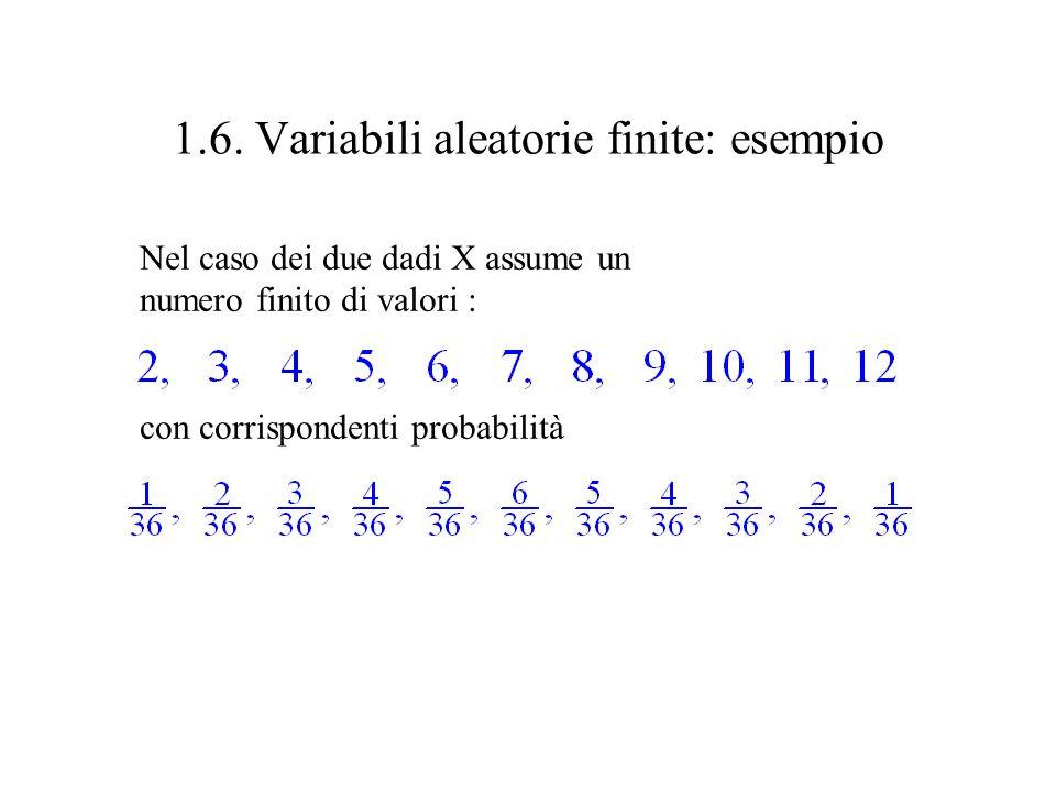 1.6. Variabili aleatorie finite Esperimento E Spazio campionario In ogni prova, osservata (misurata) una variabile X Il valore osservato di X dipende