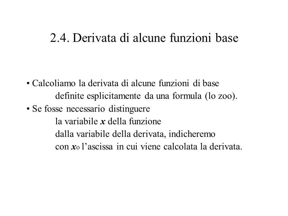 2.4. Derivata di alcune funzioni base Calcoliamo la derivata di alcune funzioni di base definite esplicitamente da una formula (lo zoo). Se fosse nece