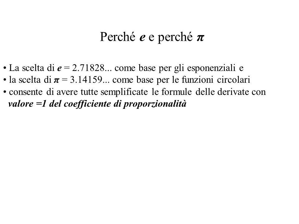 Perché e e perché π La scelta di e = 2.71828... come base per gli esponenziali e la scelta di π = 3.14159... come base per le funzioni circolari conse