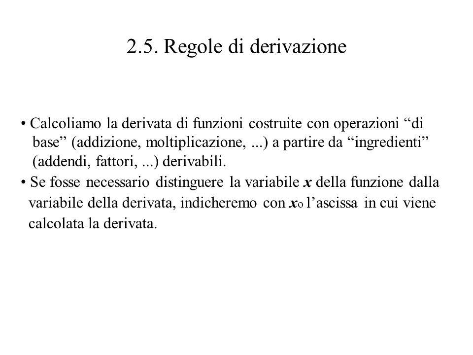 2.5. Regole di derivazione Calcoliamo la derivata di funzioni costruite con operazioni di base (addizione, moltiplicazione,...) a partire da ingredien