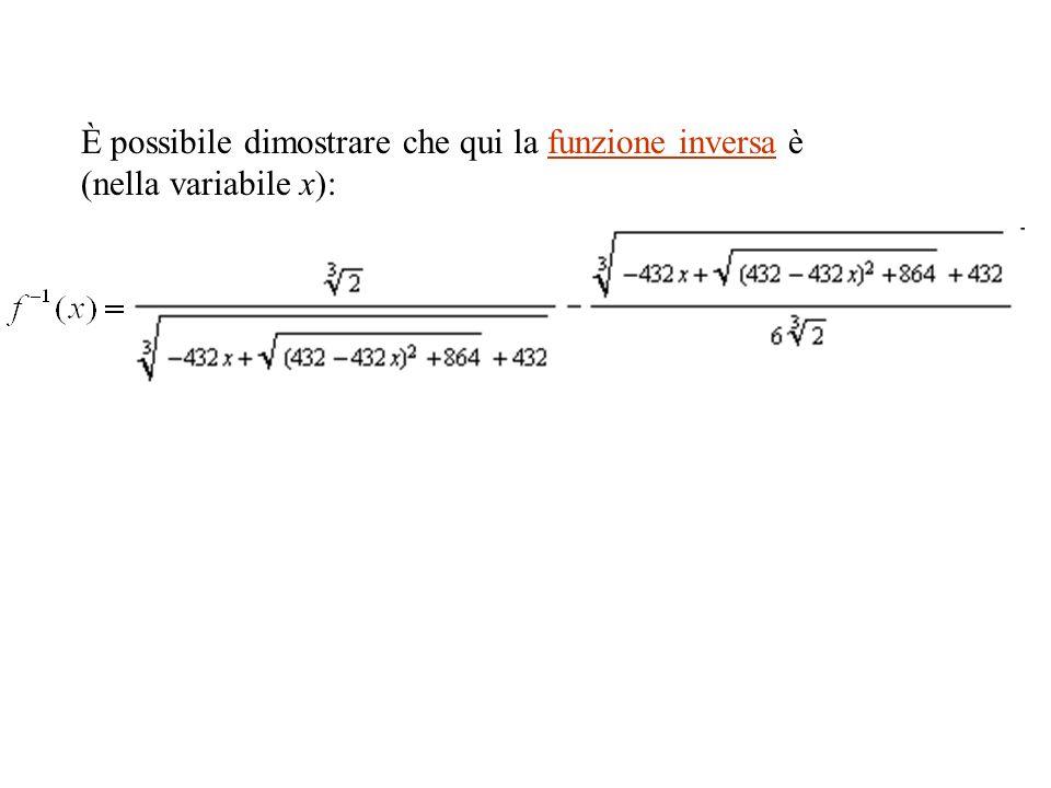 È possibile dimostrare che qui la funzione inversa è (nella variabile x):