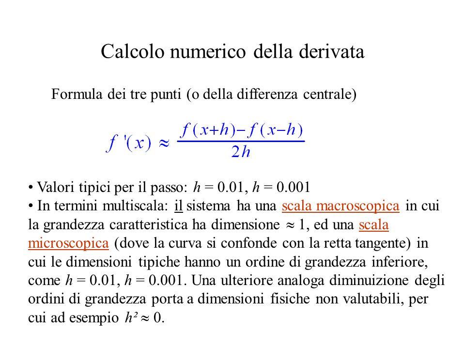 Calcolo numerico della derivata Valori tipici per il passo: h = 0.01, h = 0.001 In termini multiscala: il sistema ha una scala macroscopica in cui la