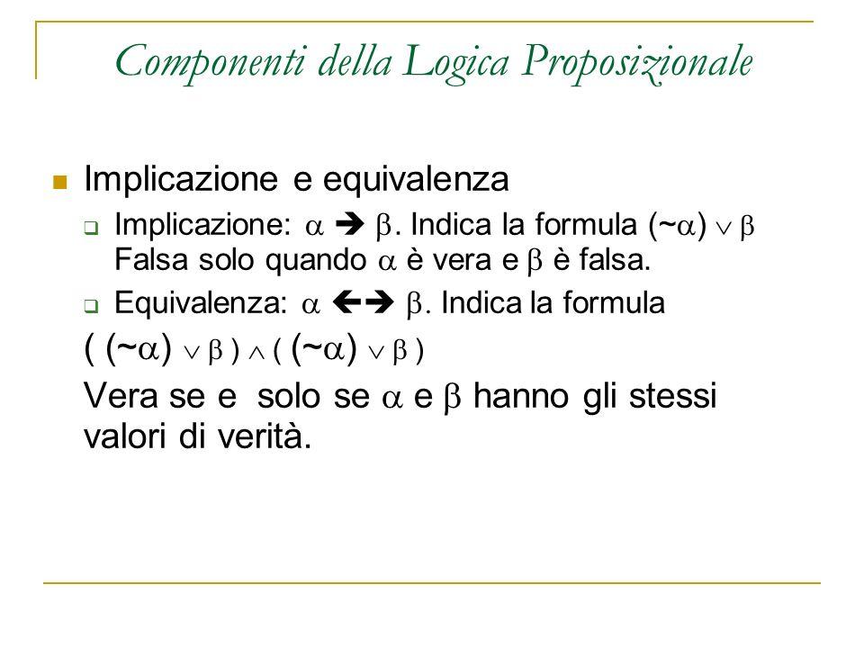 Implicazione e equivalenza Implicazione:. Indica la formula (~ ) Falsa solo quando è vera e è falsa. Equivalenza: Indica la formula ( (~ ) ) Vera se e