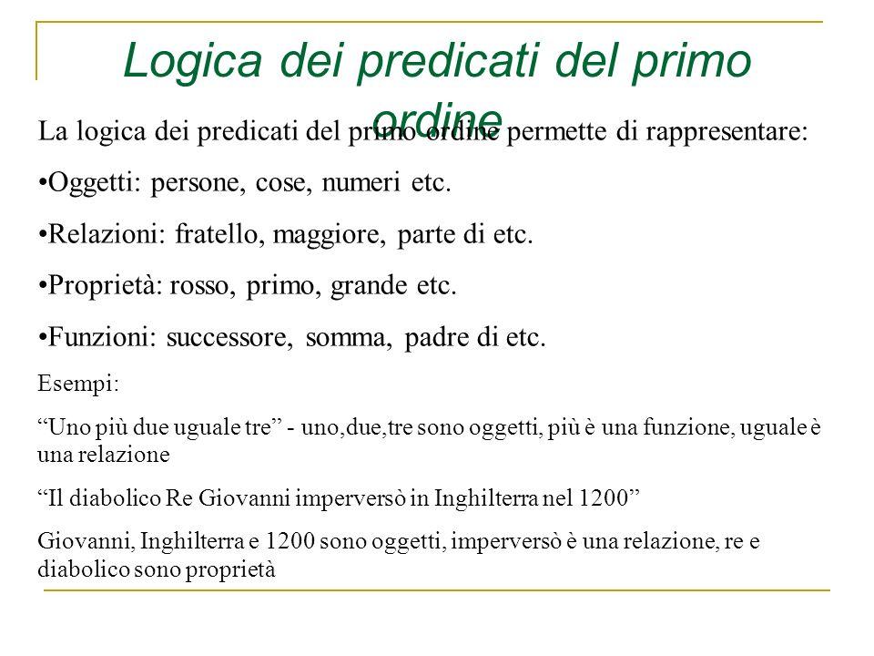 Logica dei predicati del primo ordine La logica dei predicati del primo ordine permette di rappresentare: Oggetti: persone, cose, numeri etc. Relazion