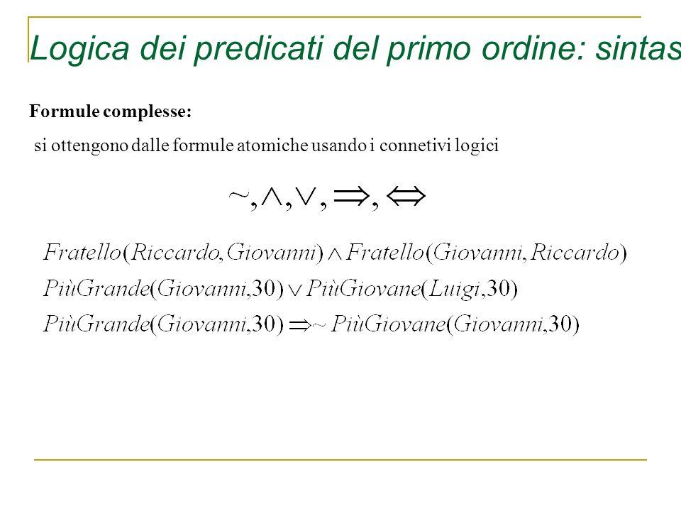 Formule complesse: si ottengono dalle formule atomiche usando i connetivi logici Logica dei predicati del primo ordine: sintassi