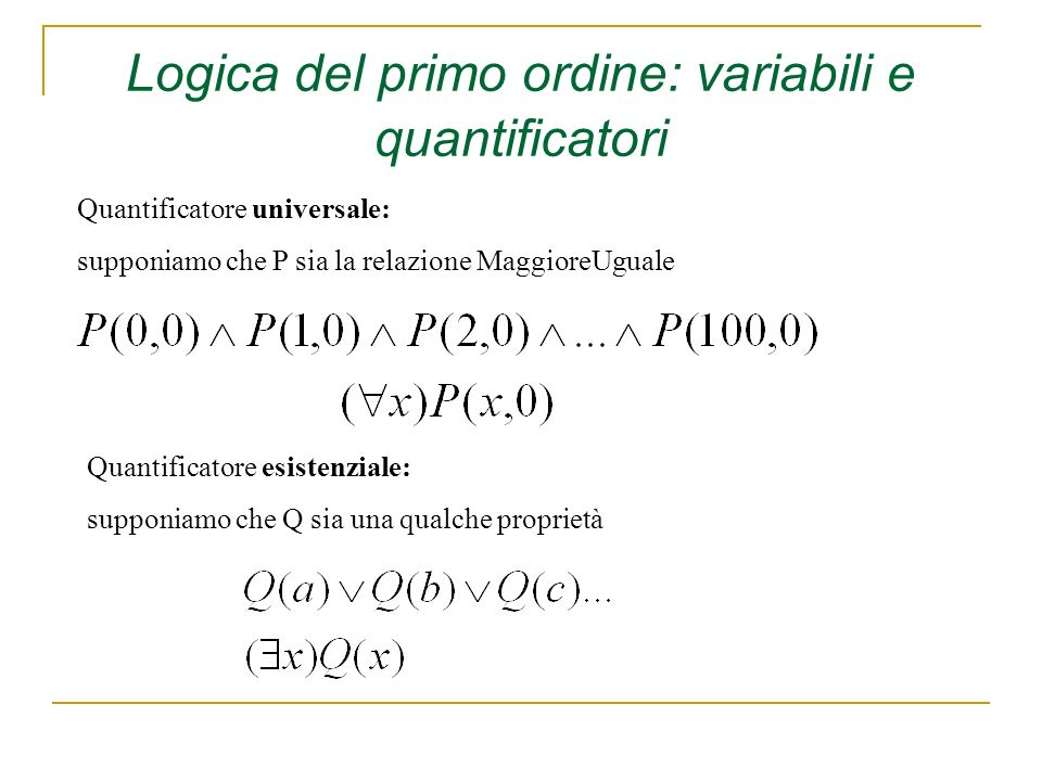 Quantificatore universale: supponiamo che P sia la relazione MaggioreUguale Quantificatore esistenziale: supponiamo che Q sia una qualche proprietà Logica del primo ordine: variabili e quantificatori