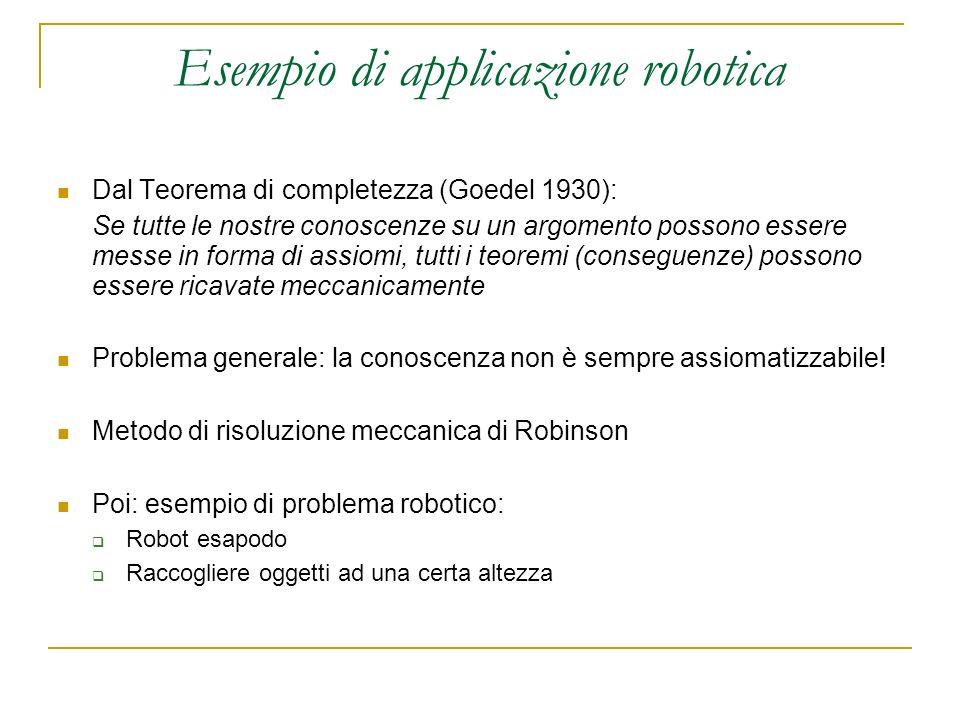 Esempio di applicazione robotica Dal Teorema di completezza (Goedel 1930): Se tutte le nostre conoscenze su un argomento possono essere messe in forma di assiomi, tutti i teoremi (conseguenze) possono essere ricavate meccanicamente Problema generale: la conoscenza non è sempre assiomatizzabile.