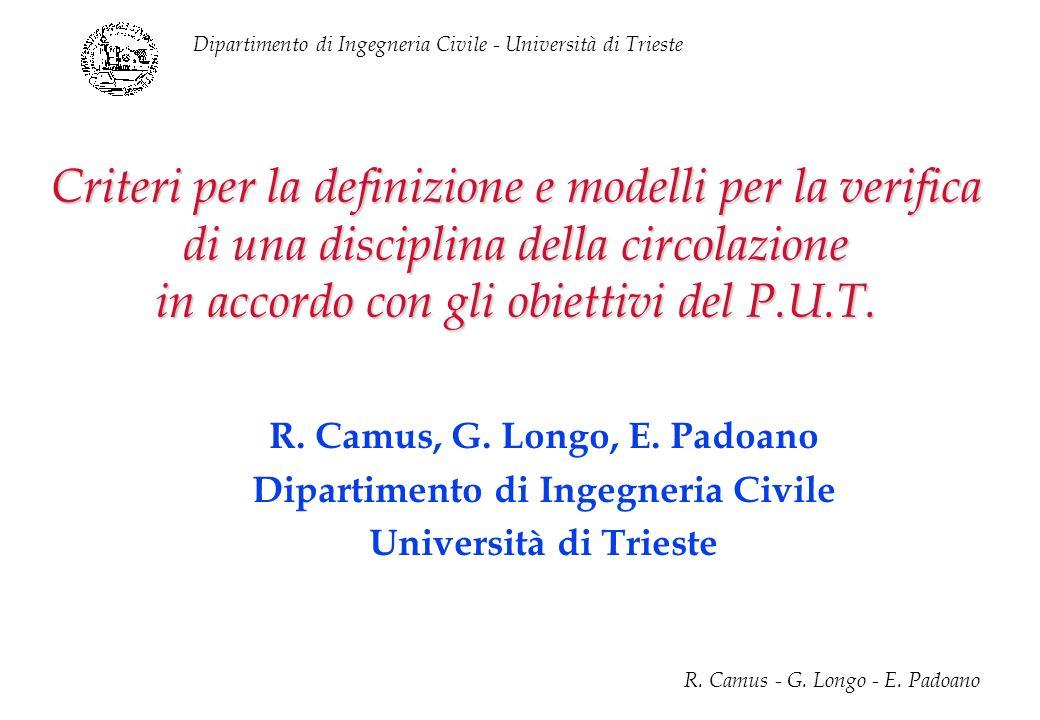 Dipartimento di Ingegneria Civile - Università di Trieste R. Camus - G. Longo - E. Padoano Criteri per la definizione e modelli per la verifica di una