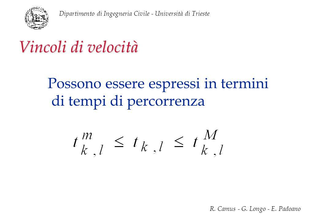 Dipartimento di Ingegneria Civile - Università di Trieste R. Camus - G. Longo - E. Padoano Vincoli di velocità Possono essere espressi in termini di t