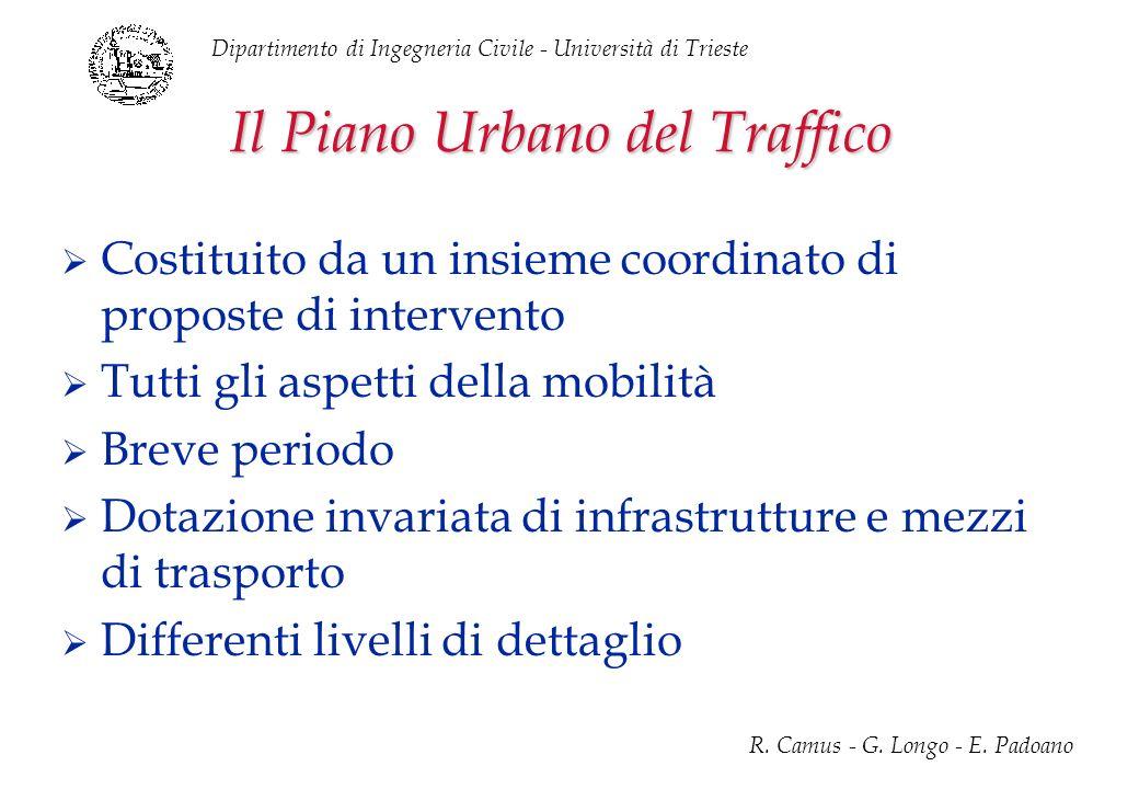 Dipartimento di Ingegneria Civile - Università di Trieste R. Camus - G. Longo - E. Padoano Il Piano Urbano del Traffico Costituito da un insieme coord