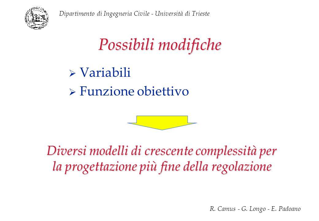 Dipartimento di Ingegneria Civile - Università di Trieste R. Camus - G. Longo - E. Padoano Possibili modifiche Variabili Funzione obiettivo Diversi mo