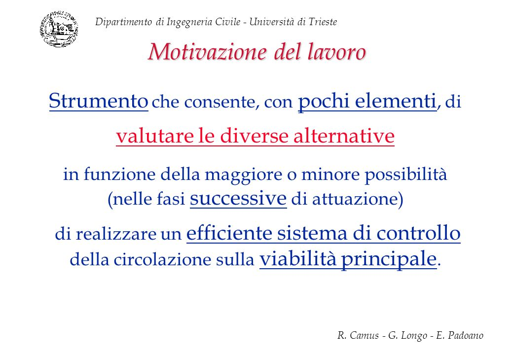 Dipartimento di Ingegneria Civile - Università di Trieste R. Camus - G. Longo - E. Padoano Motivazione del lavoro Strumento che consente, con pochi el