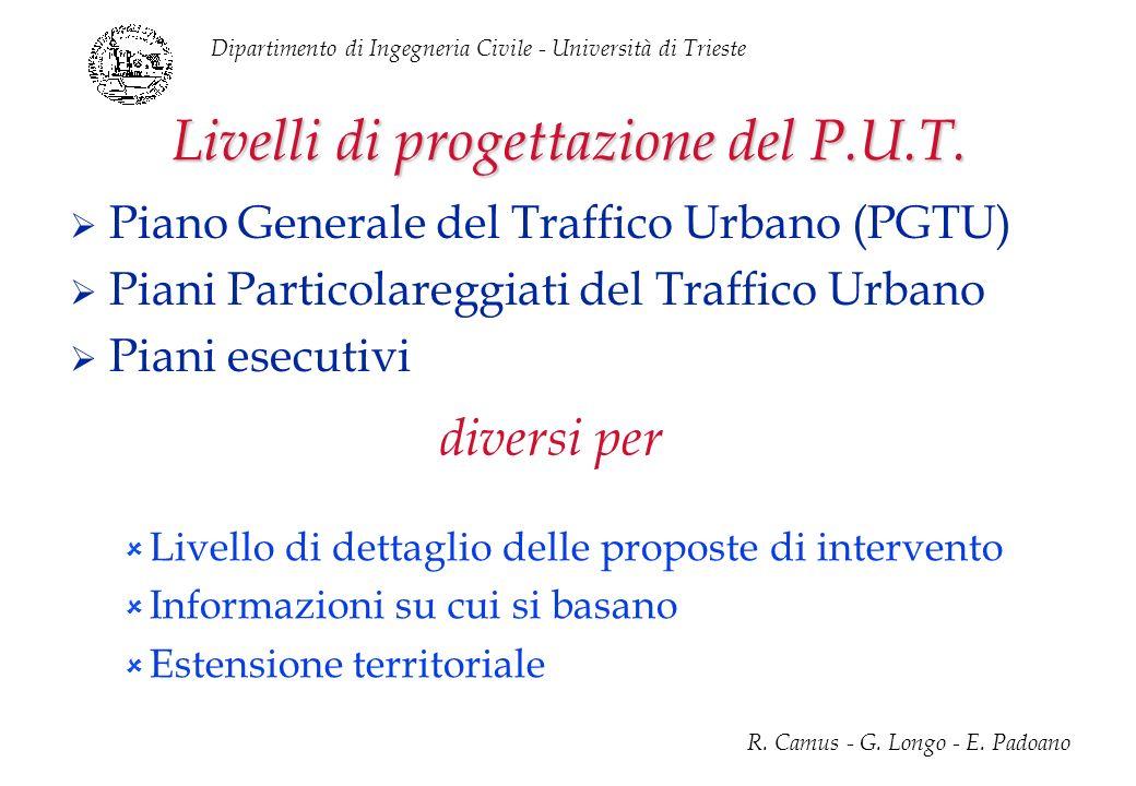 Dipartimento di Ingegneria Civile - Università di Trieste R. Camus - G. Longo - E. Padoano Livelli di progettazione del P.U.T. Piano Generale del Traf