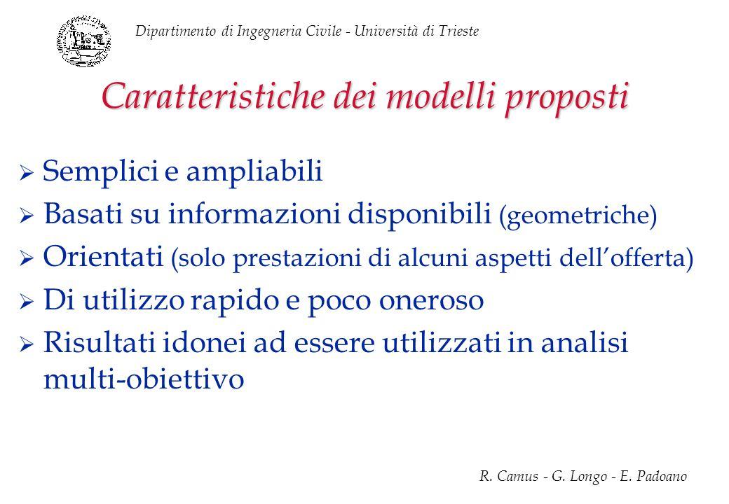 Dipartimento di Ingegneria Civile - Università di Trieste R. Camus - G. Longo - E. Padoano Caratteristiche dei modelli proposti Semplici e ampliabili