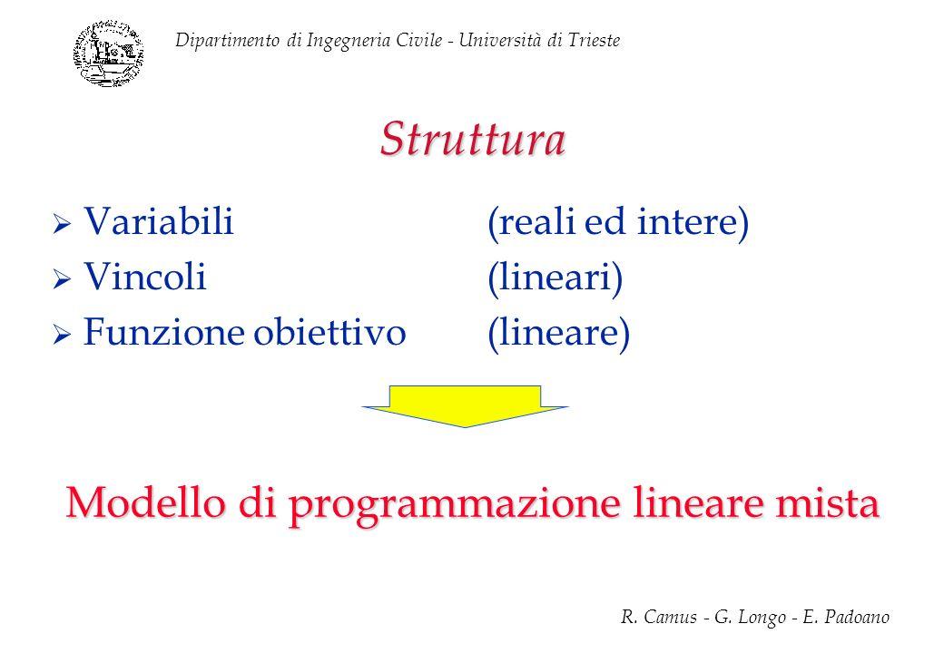 Dipartimento di Ingegneria Civile - Università di Trieste R. Camus - G. Longo - E. Padoano Struttura Variabili(reali ed intere) Vincoli(lineari) Funzi