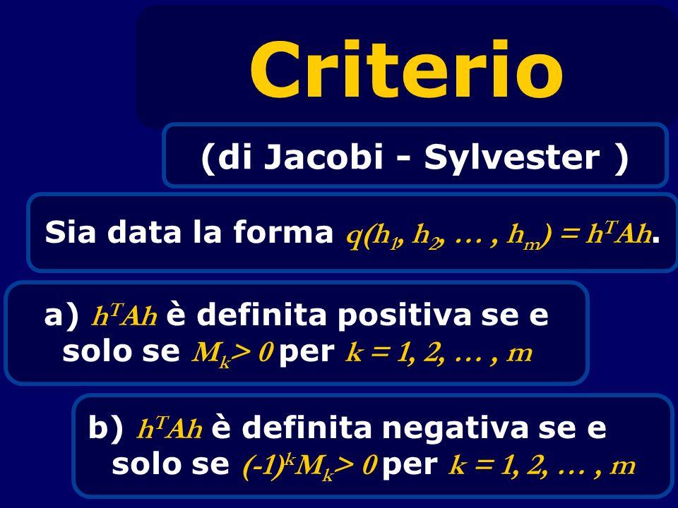 Criterio (di Jacobi - Sylvester ) Sia data la forma q(h 1, h 2, …, h m ) = h T Ah. a) h T Ah è definita positiva se e solo se M k > 0 per k = 1, 2, …,