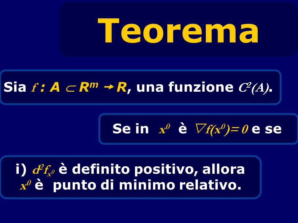 Teorema Sia f : A R m R, una funzione C 2 (A). Se in x 0 è f(x 0 )= 0 e se i) d 2 f x 0 è definito positivo, allora x 0 è punto di minimo relativo.