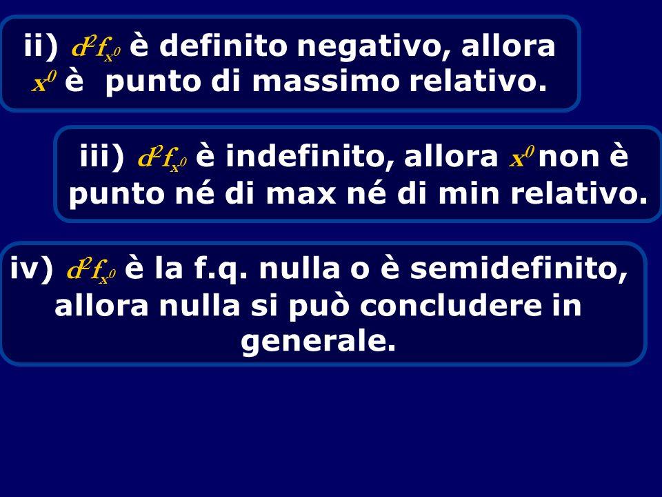 ii) d 2 f x 0 è definito negativo, allora x 0 è punto di massimo relativo. iii) d 2 f x 0 è indefinito, allora x 0 non è punto né di max né di min rel