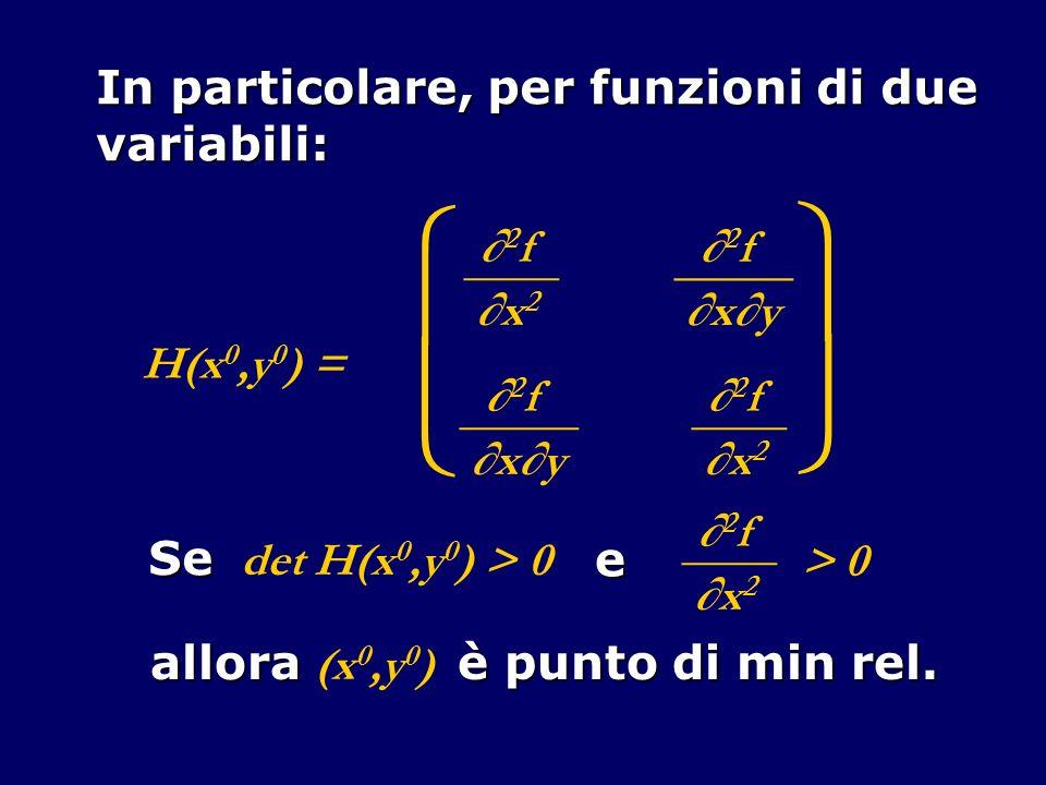 In particolare, per funzioni di due variabili: H(x 0,y 0 ) = 2 f ____ x2x2 2 f _____ xy 2 f _____ xy 2 f ____ x2x2 Se det H(x 0,y 0 ) > 0 e 2 f ____ x