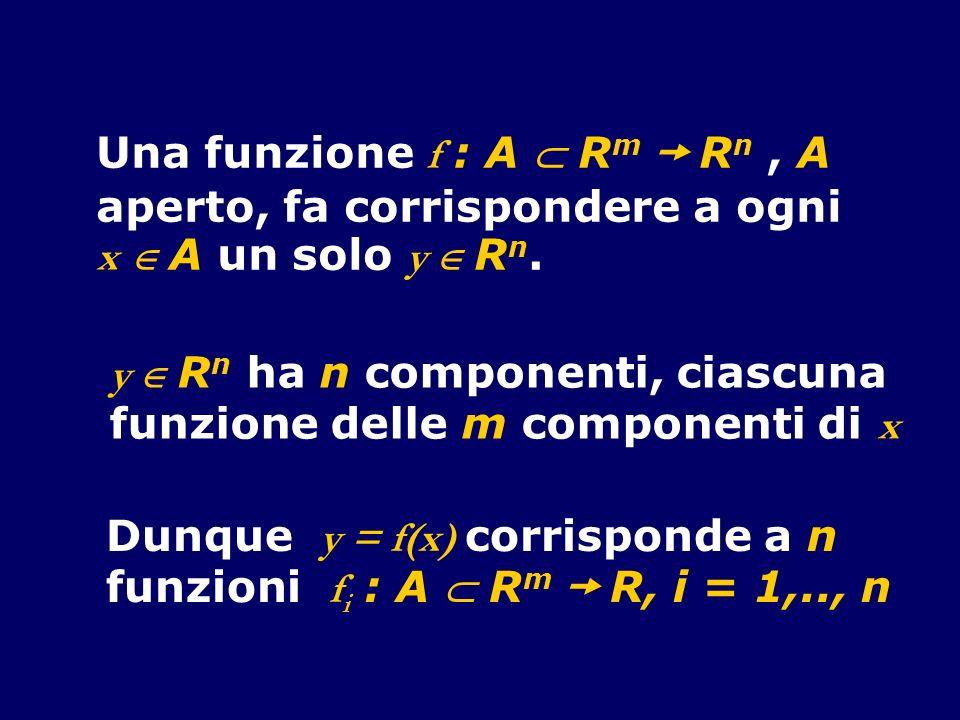 Una funzione f : A R m R n, A aperto, fa corrispondere a ogni x A un solo y R n. y R n ha n componenti, ciascuna funzione delle m componenti di x Dunq