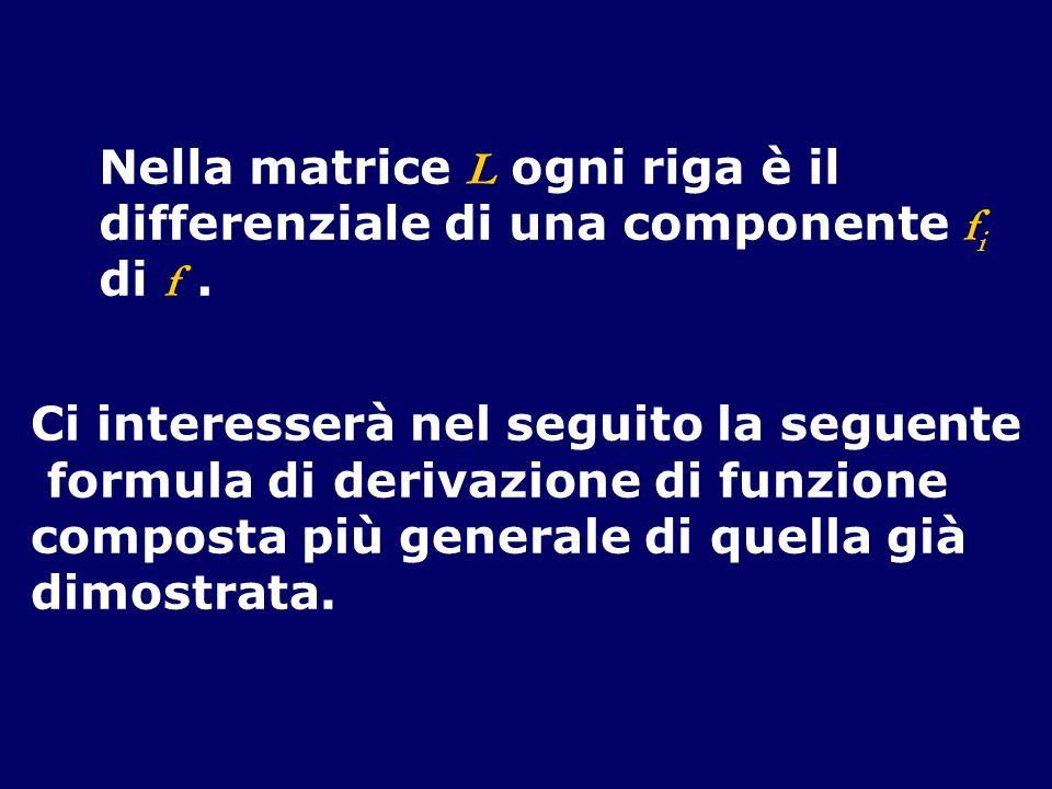 Nella matrice L ogni riga è il differenziale di una componente f i di f. Ci interesserà nel seguito la seguente formula di derivazione di funzione com