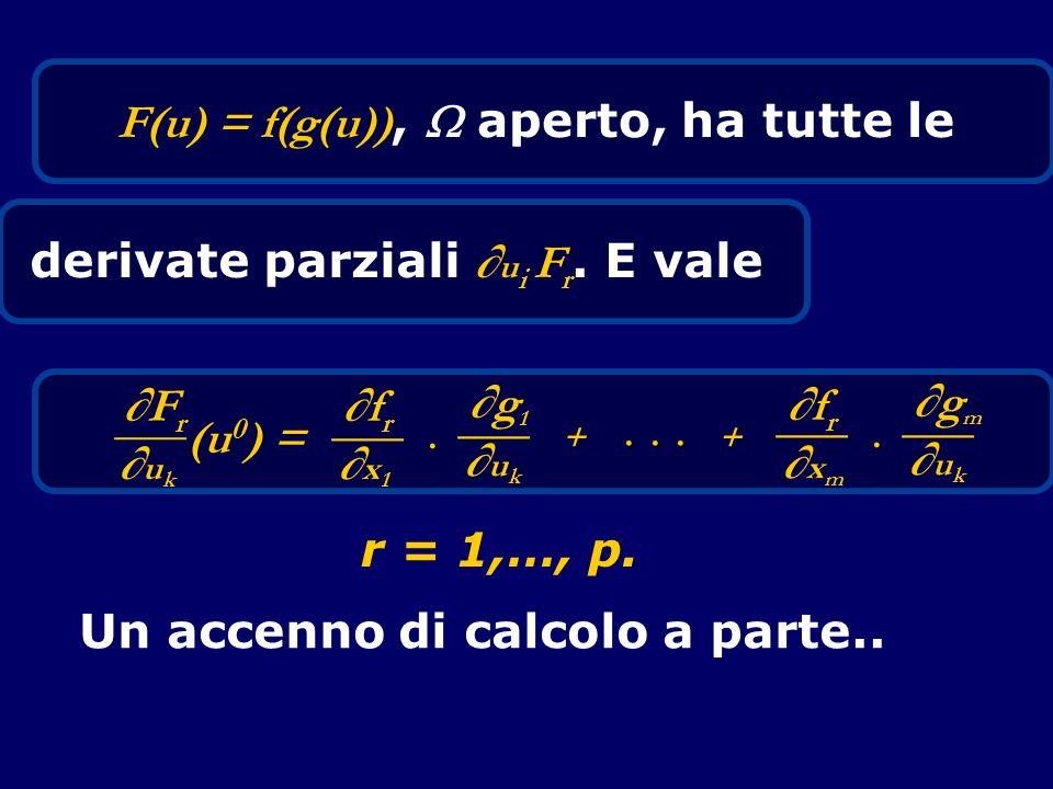 F(u) = f(g(u)), aperto, ha tutte le derivate parziali u i F r. E vale FrFr ___ u k (u 0 ) = frfr ___ x 1 g1g1 ___ u k frfr ___ x m gmgm ___ u k ++ Un