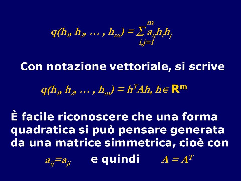 q(h 1, h 2, …, h m ) = a ij h i h j i,j=1 m Con notazione vettoriale, si scrive R m q(h 1, h 2, …, h m ) = h T Ah, h R m È facile riconoscere che una