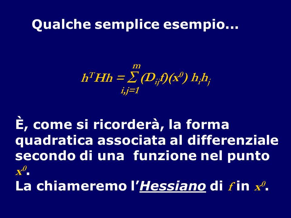 Qualche semplice esempio... È, come si ricorderà, la forma quadratica associata al differenziale secondo di una funzione nel punto x 0. La chiameremo