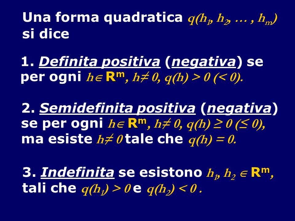 Una forma quadratica q(h 1, h 2, …, h m ) si dice 1. Definita positiva (negativa) se R m per ogni h R m, h 0, q(h) > 0 (< 0). 2. Semidefinita positiva