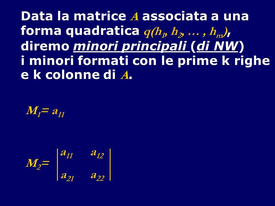 Data la matrice A associata a una forma quadratica q(h 1, h 2, …, h m ), diremo minori principali (di NW) i minori formati con le prime k righe e k co