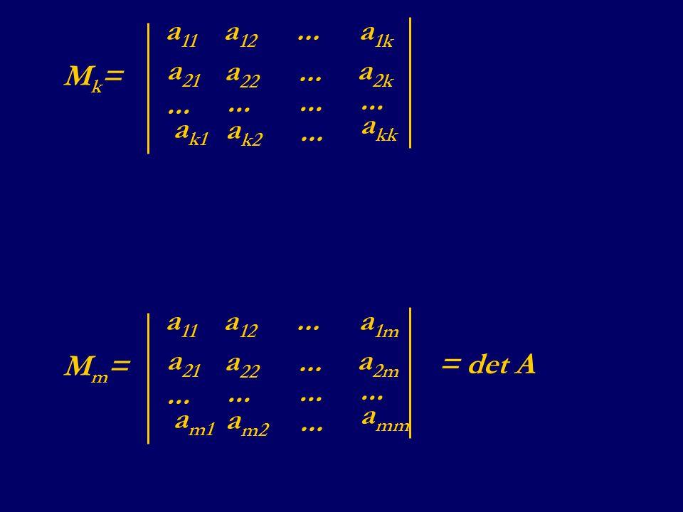 Mk=Mk= a 11 a 12 a 1k... a 21 a 22 a 2k... a k1 a k2 a kk... Mm=Mm= a 11 a 12 a 1m... a 21 a 22 a 2m... a m1 a m2 a mm... = det A