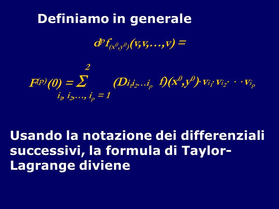 Definiamo in generale 2 F (p) (0) = i 1, i 2,…, i p = 1 (D i 1 i 2 …i p f)(x 0,y 0 ) v i 1 v i 2 v i p d p f (x 0,y 0 ) (v,v,…,v) = Usando la notazion